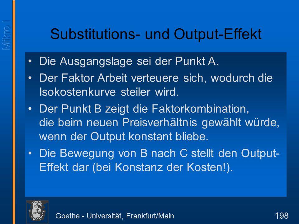 Goethe - Universität, Frankfurt/Main 198 Substitutions- und Output-Effekt Die Ausgangslage sei der Punkt A.