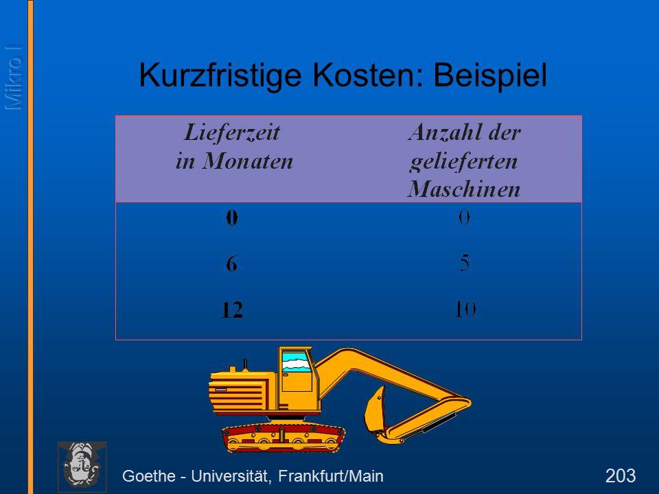 Goethe - Universität, Frankfurt/Main 203 Kurzfristige Kosten: Beispiel