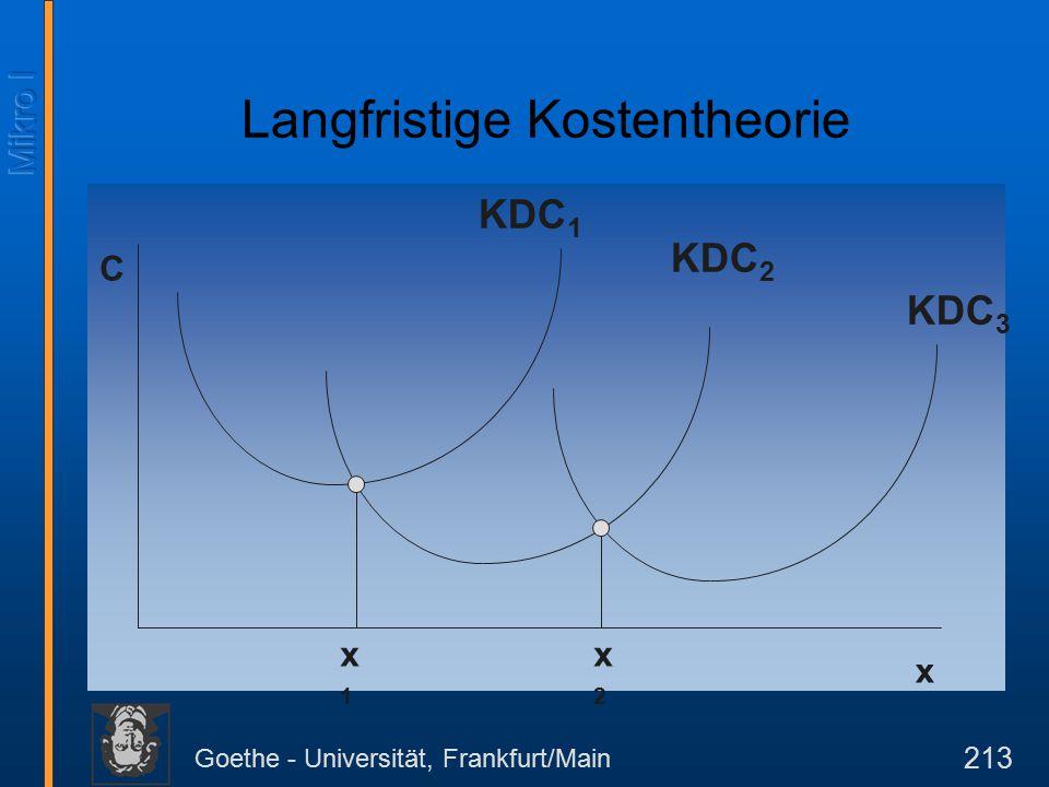 Goethe - Universität, Frankfurt/Main 213 C x KDC 1 KDC 2 KDC 3 x1x1 x2x2 Langfristige Kostentheorie