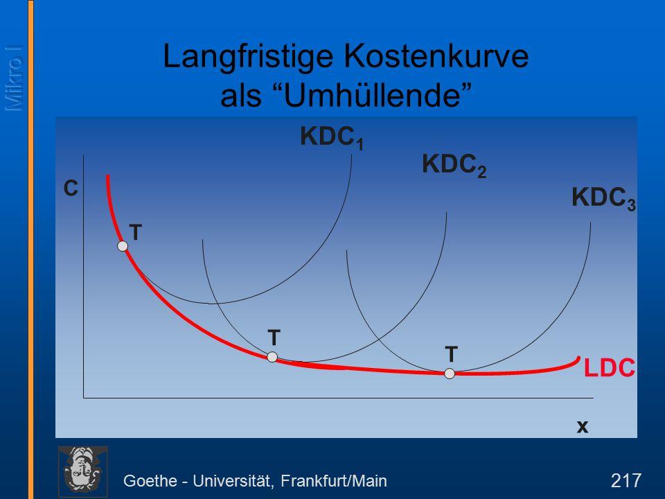Goethe - Universität, Frankfurt/Main 217 C x KDC 1 KDC 2 KDC 3 LDC T T T Langfristige Kostenkurve als Umhüllende