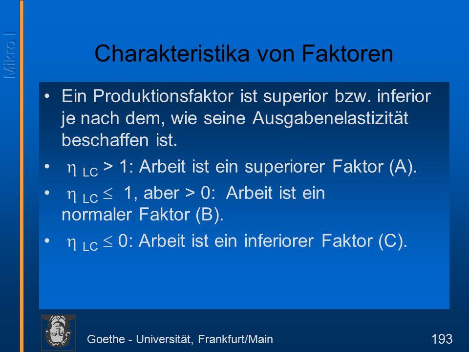 Goethe - Universität, Frankfurt/Main 214 Langfristige Kostentheorie Solange der Output geringer ist als x 1 wählt der Unternehmer die Technologie 1.
