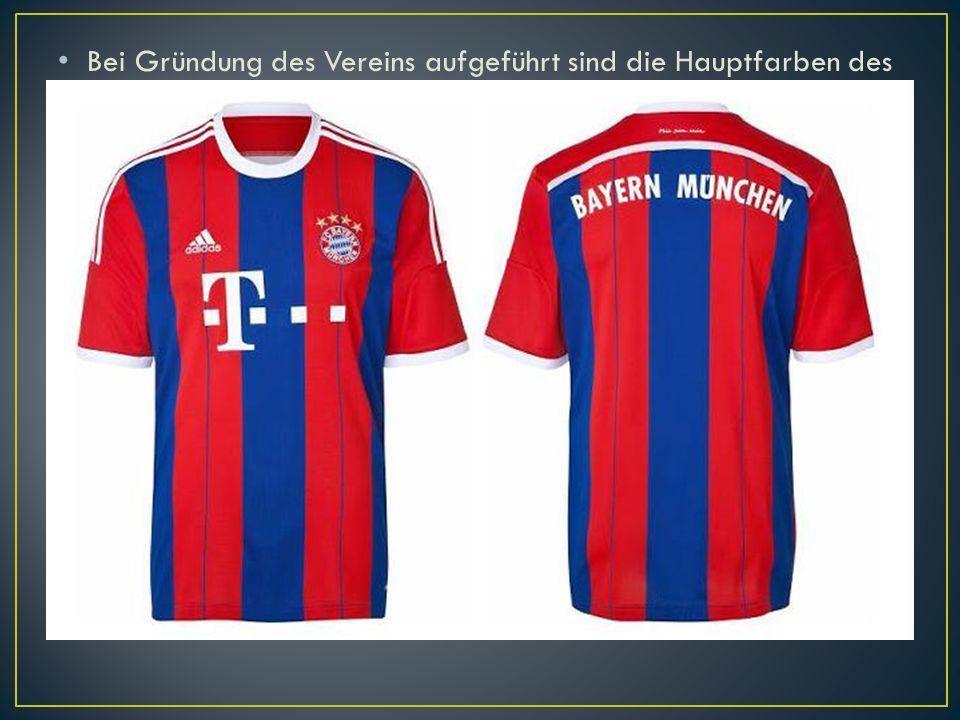 Bei Gründung des Vereins aufgeführt sind die Hauptfarben des FC Bayern, rot und blau, aber in weißen Hemden und schwarze Hosen bis 1905 spielte. Auch