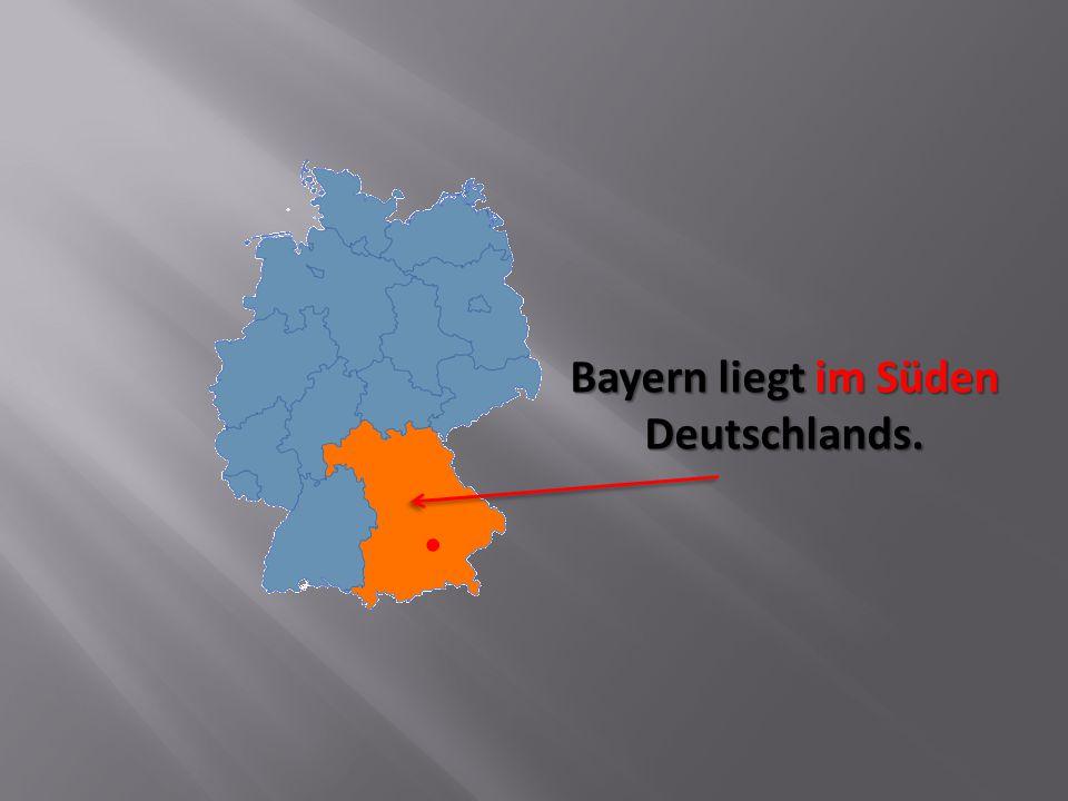 Die bayerische Flagge ist blau und weiß.