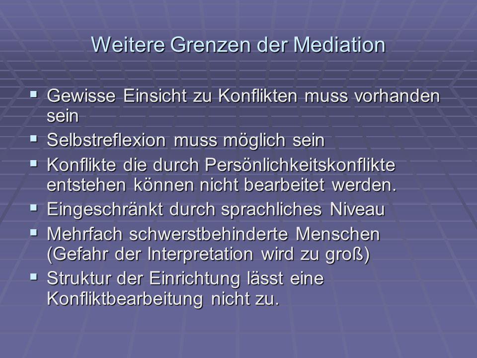 Weitere Grenzen der Mediation  Gewisse Einsicht zu Konflikten muss vorhanden sein  Selbstreflexion muss möglich sein  Konflikte die durch Persönlic