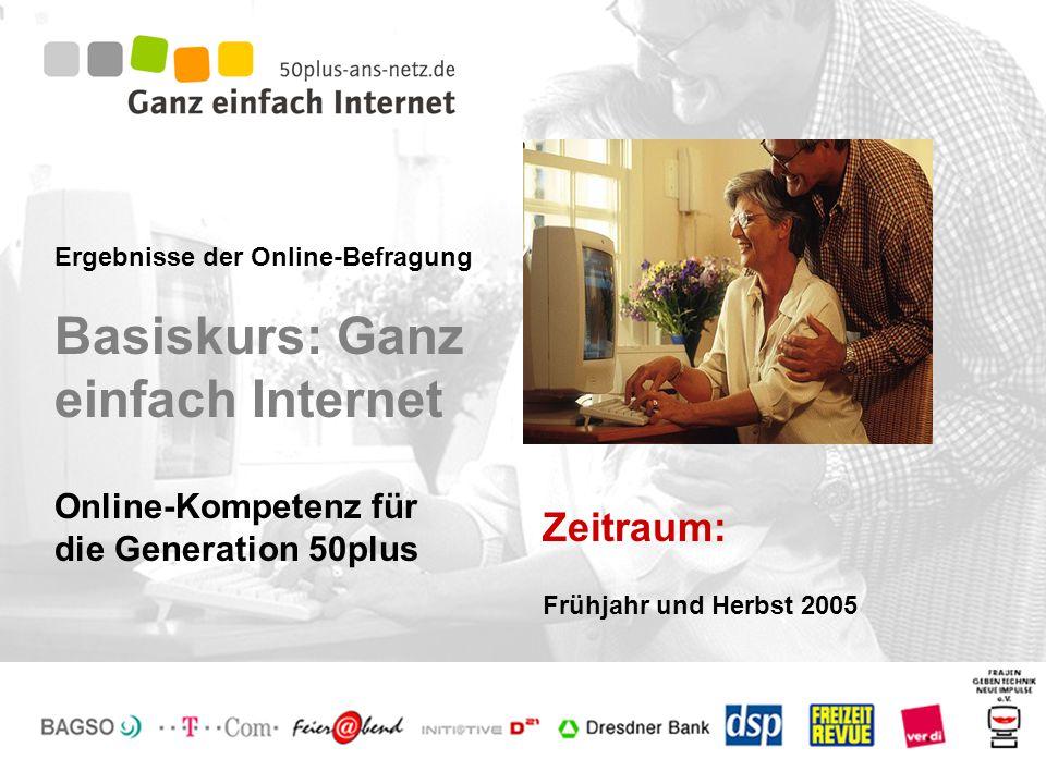 Ergebnisse der Online-Befragung Basiskurs: Ganz einfach Internet Zeitraum: Online-Kompetenz für die Generation 50plus Frühjahr und Herbst 2005