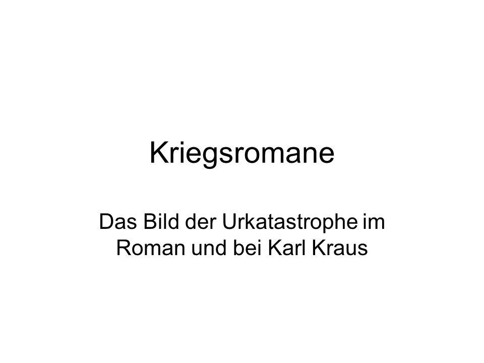 Kriegsromane Das Bild der Urkatastrophe im Roman und bei Karl Kraus