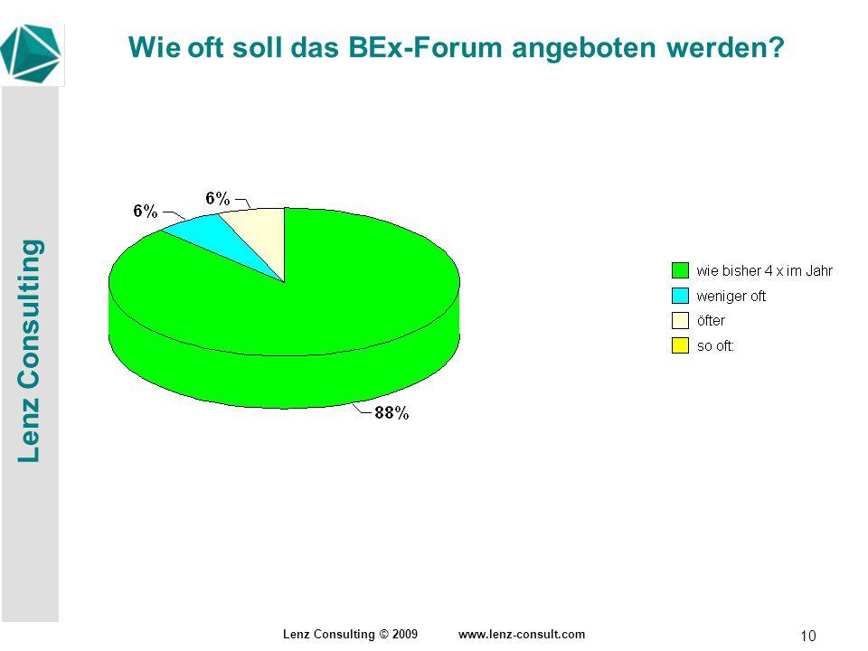 Lenz Consulting Lenz Consulting © 2009 www.lenz-consult.com 10 Wie oft soll das BEx-Forum angeboten werden?