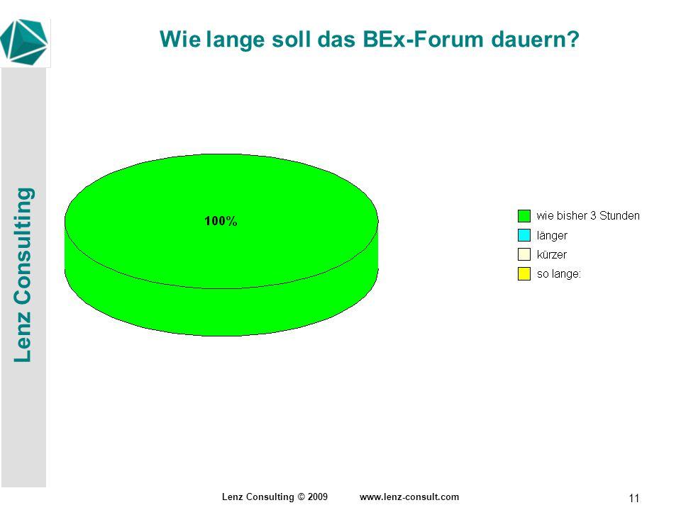Lenz Consulting Lenz Consulting © 2009 www.lenz-consult.com 11 Wie lange soll das BEx-Forum dauern