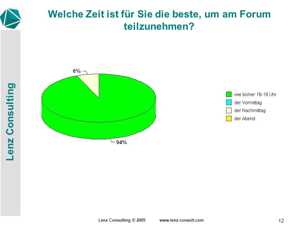 Lenz Consulting Lenz Consulting © 2009 www.lenz-consult.com 12 Welche Zeit ist für Sie die beste, um am Forum teilzunehmen?