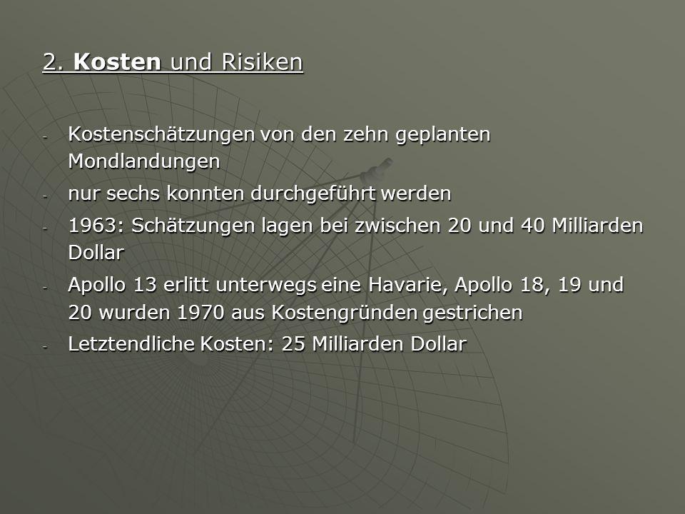 2. Kosten und Risiken - Kostenschätzungen von den zehn geplanten Mondlandungen - nur sechs konnten durchgeführt werden - 1963: Schätzungen lagen bei z