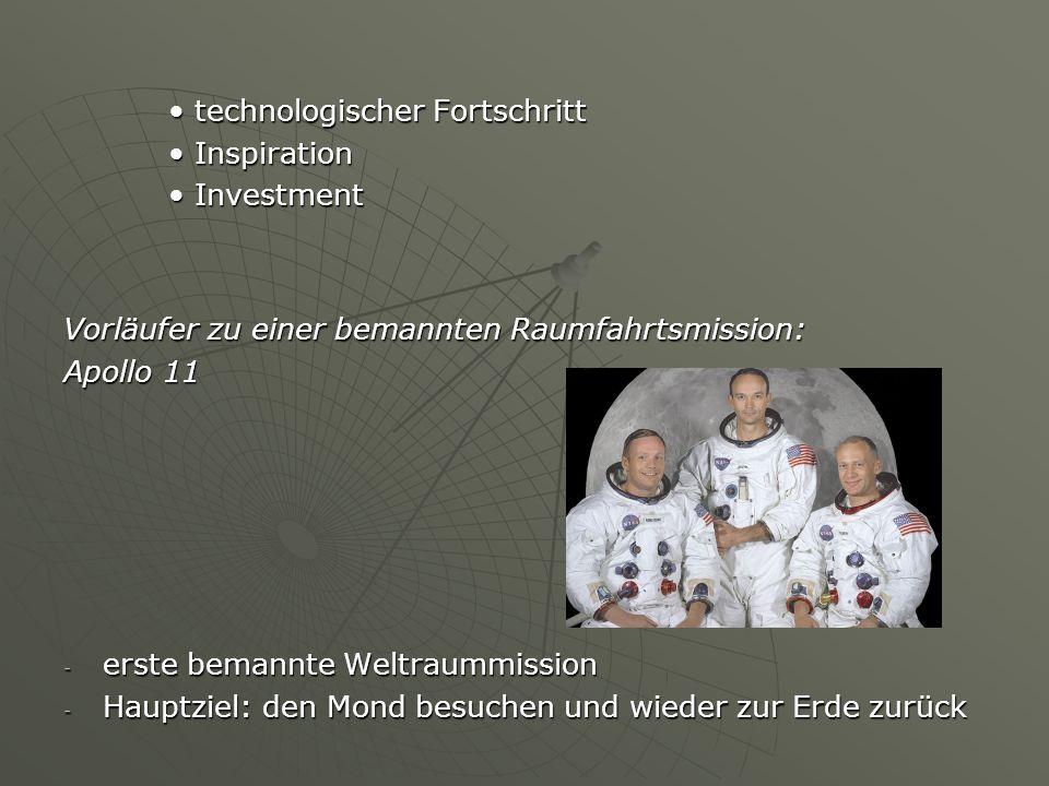 technologischer Fortschritt technologischer Fortschritt Inspiration Inspiration Investment Investment Vorläufer zu einer bemannten Raumfahrtsmission: Apollo 11 - erste bemannte Weltraummission - Hauptziel: den Mond besuchen und wieder zur Erde zurück