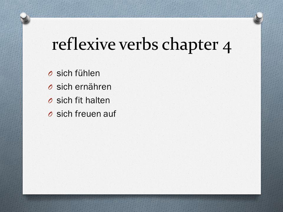 reflexive verbs chapter 4 O sich fühlen O sich ernähren O sich fit halten O sich freuen auf