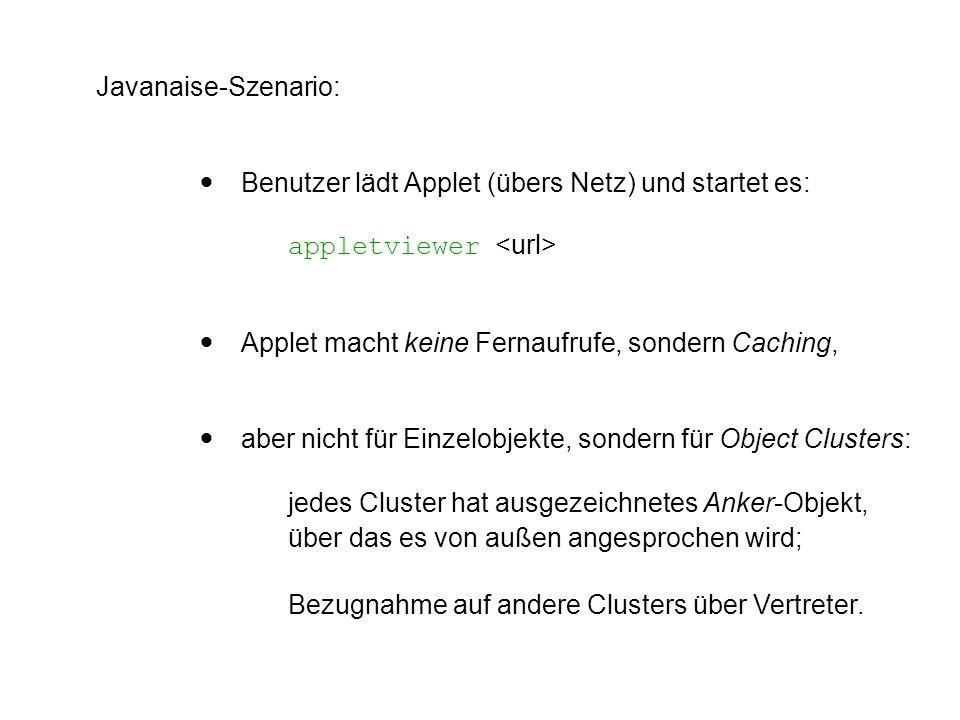 Javanaise-Szenario:  Benutzer lädt Applet (übers Netz) und startet es: appletviewer  Applet macht keine Fernaufrufe, sondern Caching,  aber nicht f