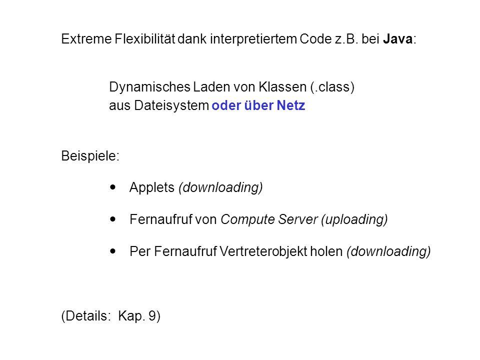 Extreme Flexibilität dank interpretiertem Code z.B. bei Java: Dynamisches Laden von Klassen (.class) aus Dateisystem oder über Netz Beispiele:  Apple
