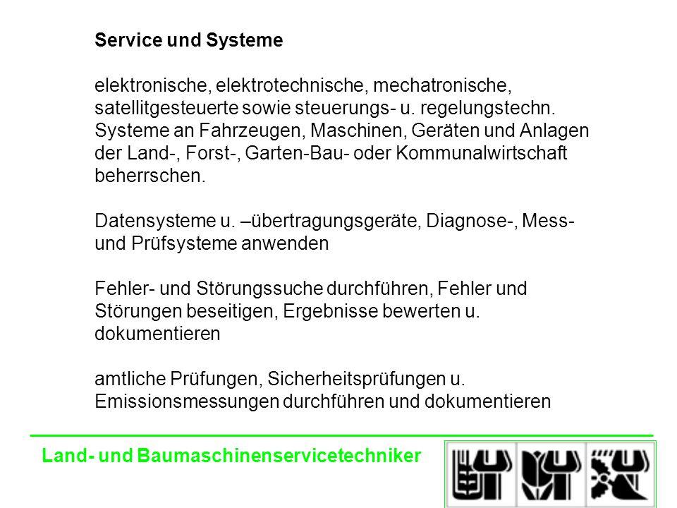 Land- und Baumaschinenservicetechniker Service und Systeme elektronische, elektrotechnische, mechatronische, satellitgesteuerte sowie steuerungs- u.