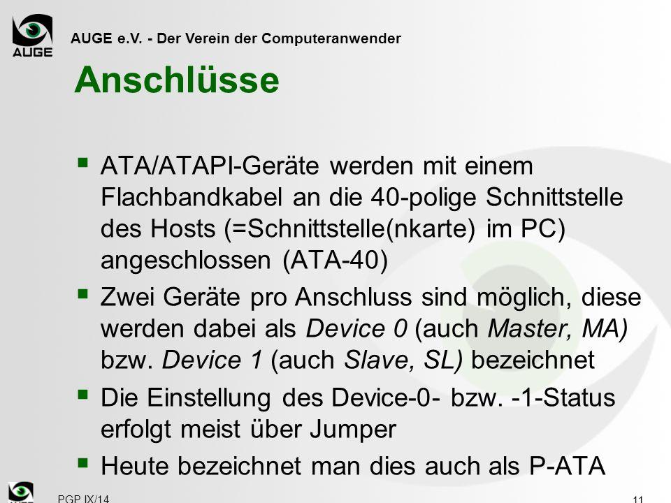 AUGE e.V. - Der Verein der Computeranwender Anschlüsse  ATA/ATAPI-Geräte werden mit einem Flachbandkabel an die 40-polige Schnittstelle des Hosts (=S