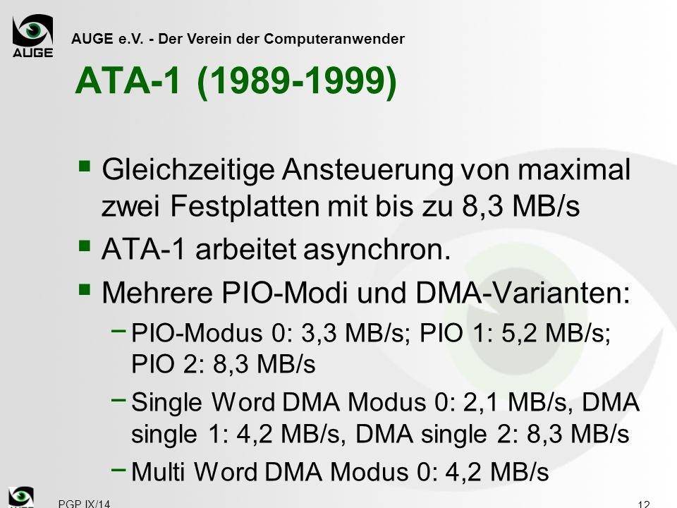 AUGE e.V. - Der Verein der Computeranwender ATA-1 (1989-1999)  Gleichzeitige Ansteuerung von maximal zwei Festplatten mit bis zu 8,3 MB/s  ATA-1 arb
