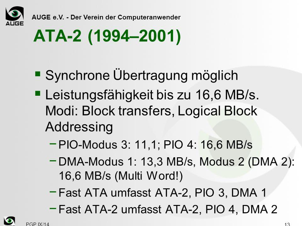 AUGE e.V. - Der Verein der Computeranwender ATA-2 (1994–2001)  Synchrone Übertragung möglich  Leistungsfähigkeit bis zu 16,6 MB/s. Modi: Block trans