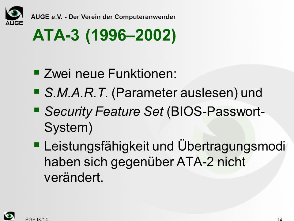 AUGE e.V. - Der Verein der Computeranwender ATA-3 (1996–2002)  Zwei neue Funktionen:  S.M.A.R.T. (Parameter auslesen) und  Security Feature Set (BI