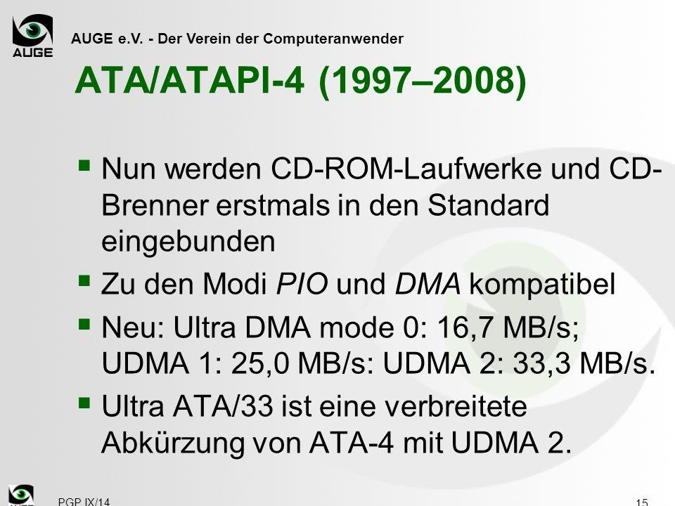 AUGE e.V. - Der Verein der Computeranwender ATA/ATAPI-4 (1997–2008) 15  Nun werden CD-ROM-Laufwerke und CD- Brenner erstmals in den Standard eingebun