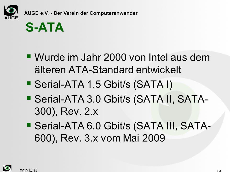 AUGE e.V. - Der Verein der Computeranwender S-ATA  Wurde im Jahr 2000 von Intel aus dem älteren ATA-Standard entwickelt  Serial-ATA 1,5 Gbit/s (SATA