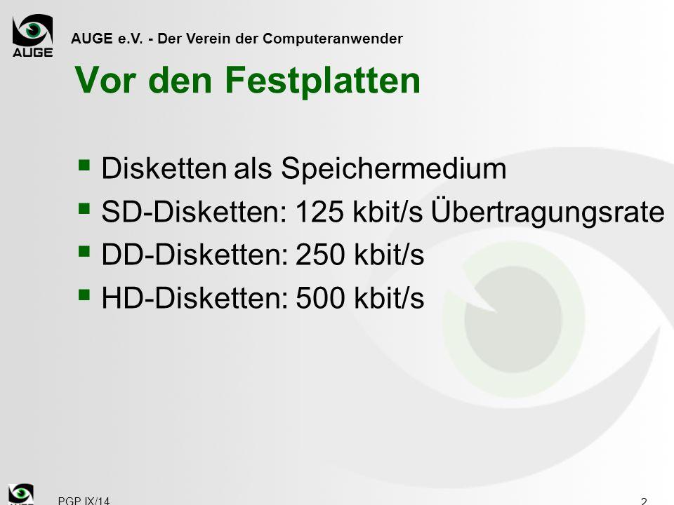 AUGE e.V. - Der Verein der Computeranwender Vor den Festplatten  Disketten als Speichermedium  SD-Disketten: 125 kbit/s Übertragungsrate  DD-Disket