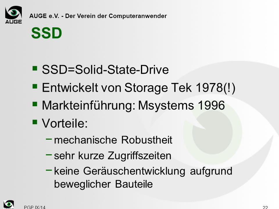 AUGE e.V. - Der Verein der Computeranwender SSD  SSD=Solid-State-Drive  Entwickelt von Storage Tek 1978(!)  Markteinführung: Msystems 1996  Vortei