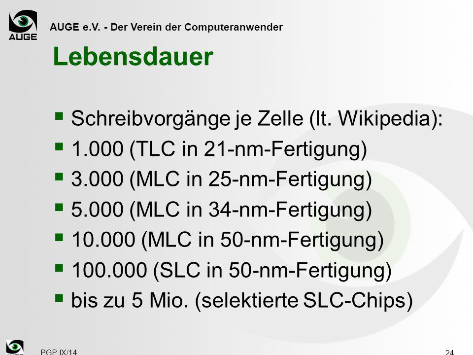 AUGE e.V. - Der Verein der Computeranwender Lebensdauer  Schreibvorgänge je Zelle (lt. Wikipedia):  1.000 (TLC in 21-nm-Fertigung)  3.000 (MLC in 2