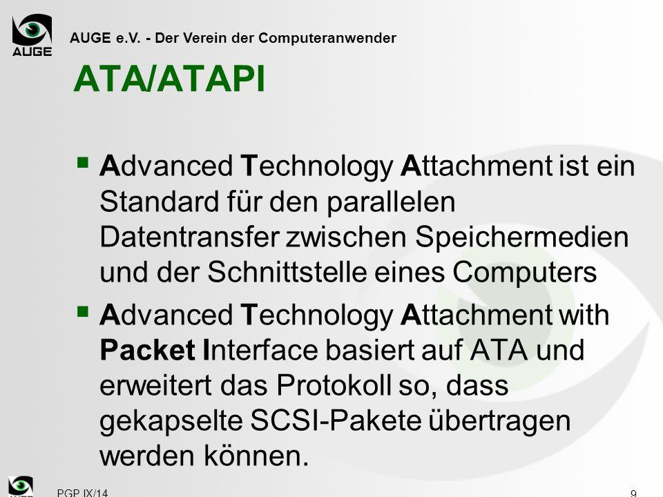 AUGE e.V. - Der Verein der Computeranwender ATA/ATAPI  Advanced Technology Attachment ist ein Standard für den parallelen Datentransfer zwischen Spei