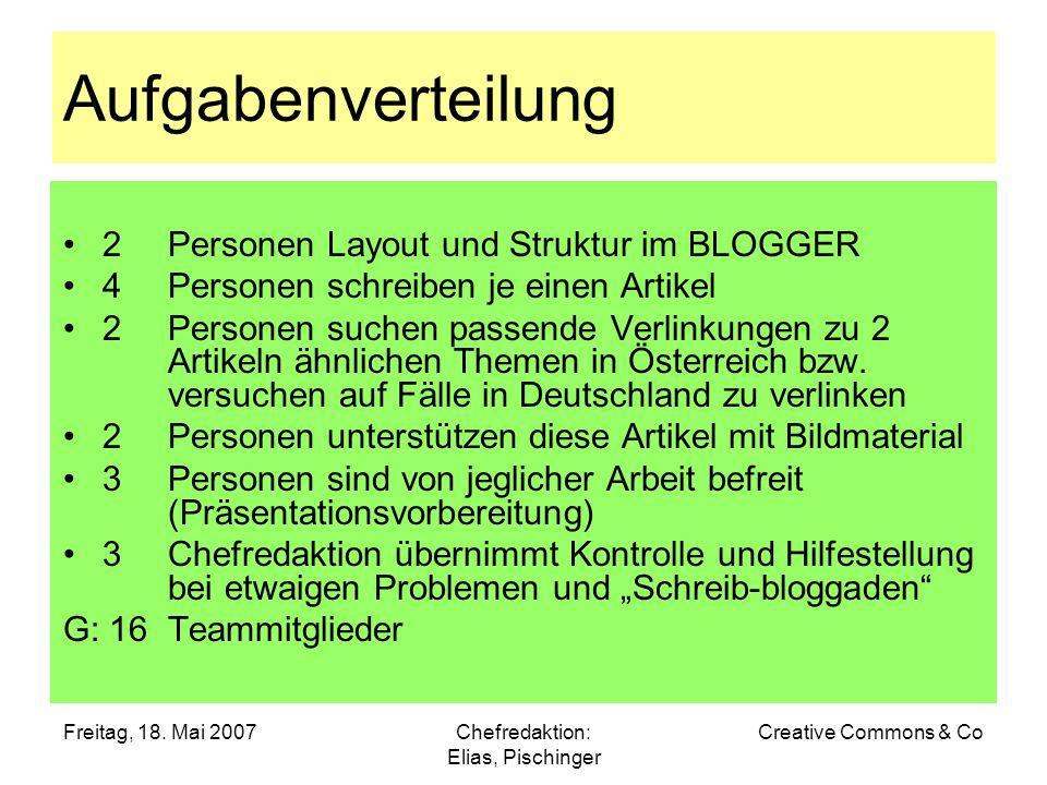 Freitag, 18. Mai 2007Chefredaktion: Elias, Pischinger Creative Commons & Co Aufgabenverteilung 2 Personen Layout und Struktur im BLOGGER 4 Personen sc