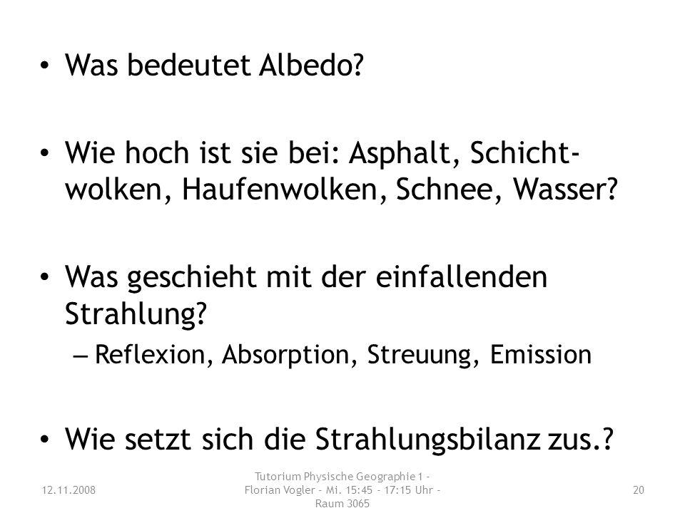 Was bedeutet Albedo.Wie hoch ist sie bei: Asphalt, Schicht- wolken, Haufenwolken, Schnee, Wasser.