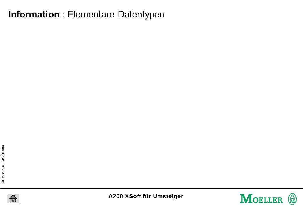 Schutzvermerk nach DIN 34 beachten 04/04/15 Seite 20 A200 XSoft für Umsteiger Information : Elementare Datentypen