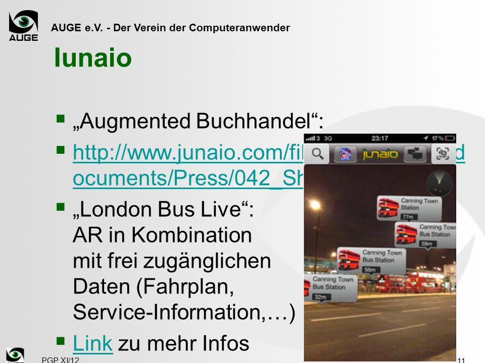 """AUGE e.V. - Der Verein der Computeranwender Iunaio  """"Augmented Buchhandel"""":  http://www.junaio.com/fileadmin/upload/d ocuments/Press/042_Showrooming"""