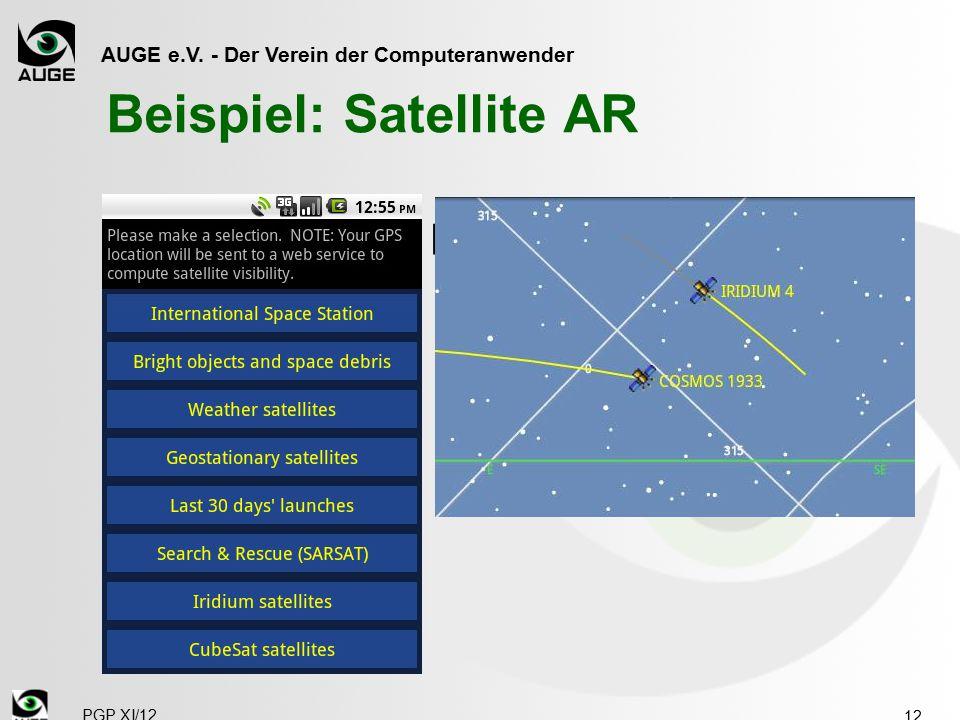 """AUGE e.V. - Der Verein der Computeranwender Beispiel: Satellite AR  Mit Handy den Himmel """"aufnehmen"""" 12 PGP XI/12"""