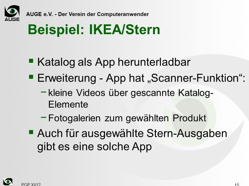 """AUGE e.V. - Der Verein der Computeranwender Beispiel: IKEA/Stern  Katalog als App herunterladbar  Erweiterung - App hat """"Scanner-Funktion"""": − kleine"""