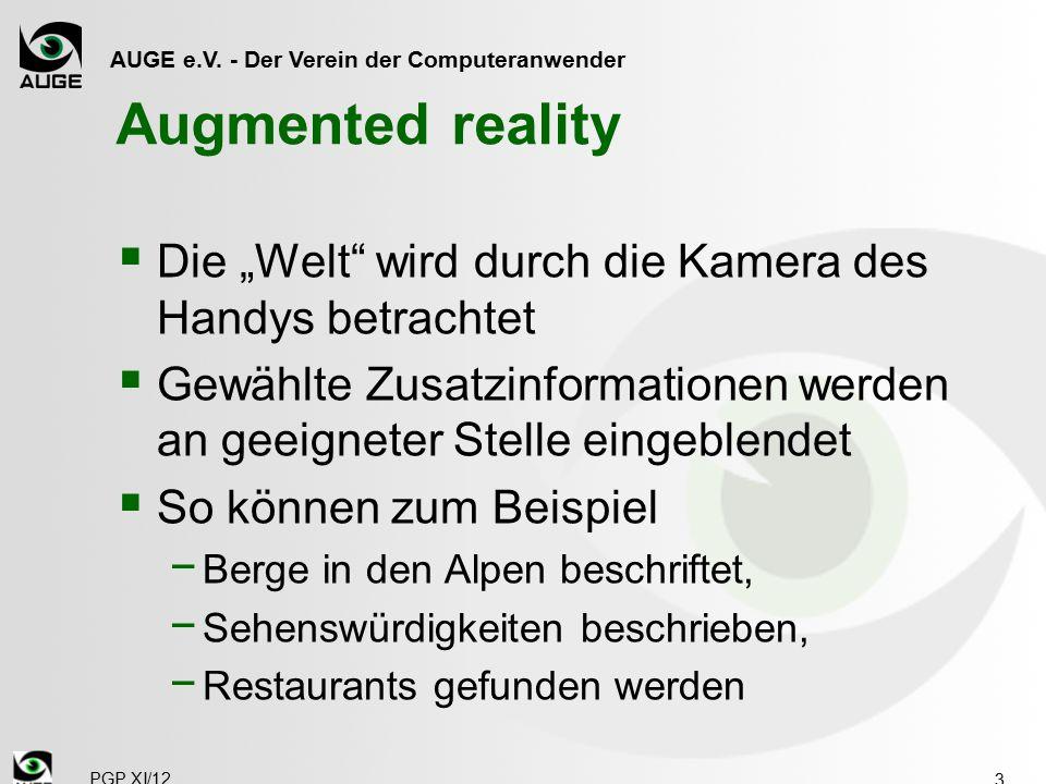 """AUGE e.V. - Der Verein der Computeranwender Augmented reality  Die """"Welt"""" wird durch die Kamera des Handys betrachtet  Gewählte Zusatzinformationen"""