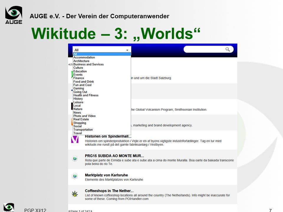 """AUGE e.V. - Der Verein der Computeranwender Wikitude – 3: """"Worlds 7 PGP XI/12"""