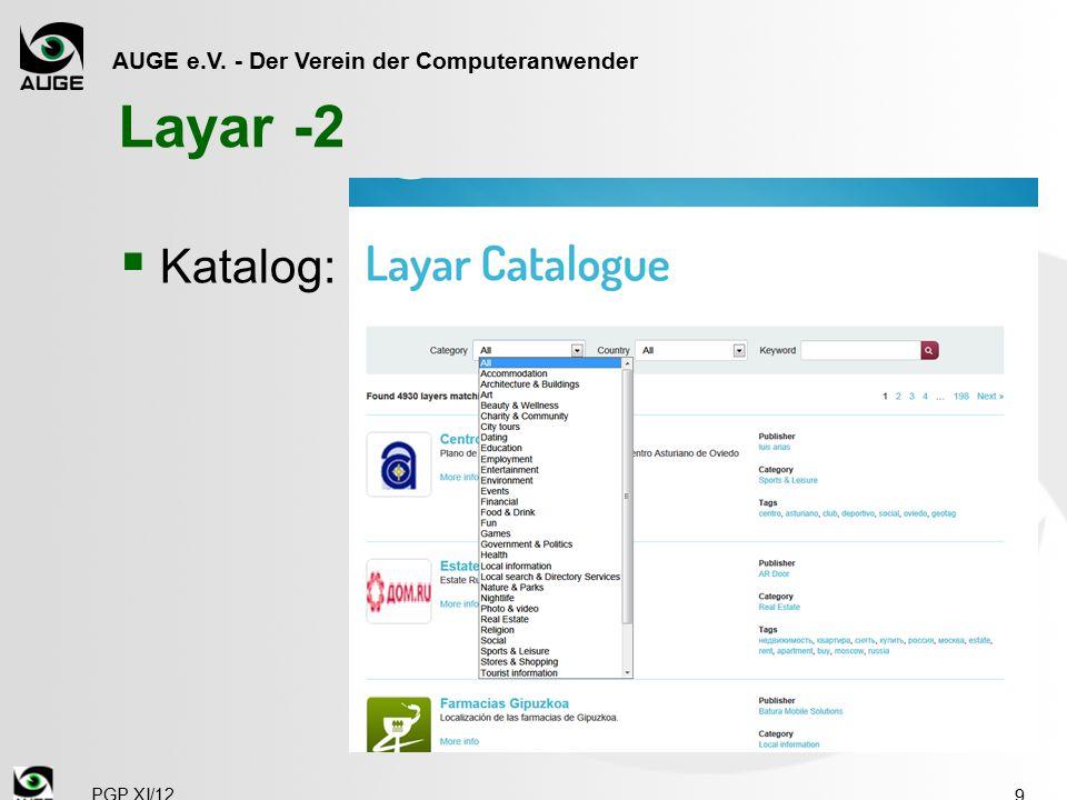 AUGE e.V. - Der Verein der Computeranwender Layar -2  Katalog: 9 PGP XI/12