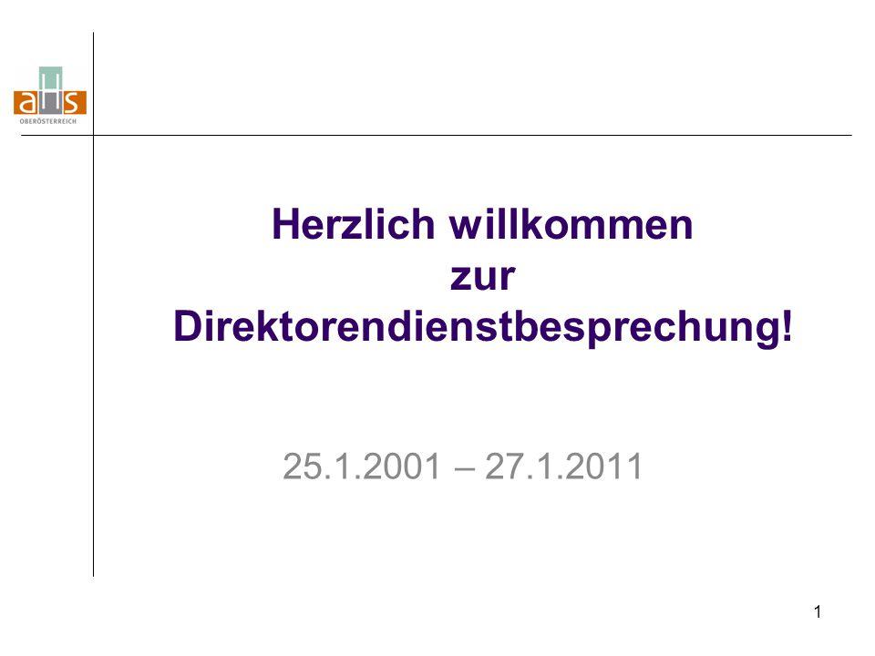 1 Herzlich willkommen zur Direktorendienstbesprechung! 25.1.2001 – 27.1.2011