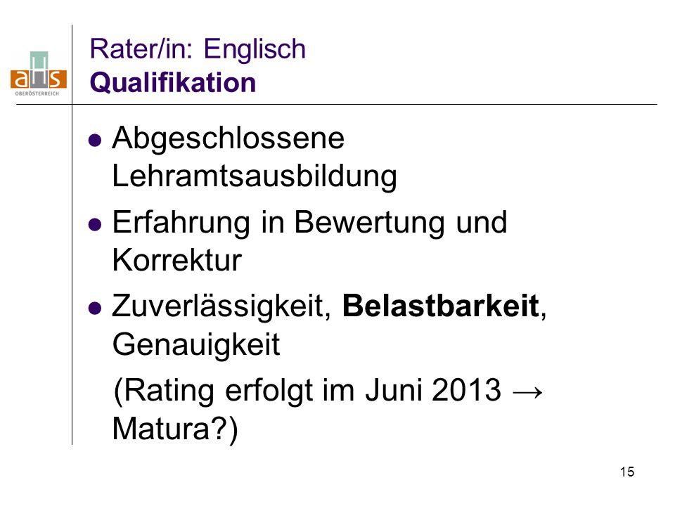 15 Rater/in: Englisch Qualifikation Abgeschlossene Lehramtsausbildung Erfahrung in Bewertung und Korrektur Zuverlässigkeit, Belastbarkeit, Genauigkeit