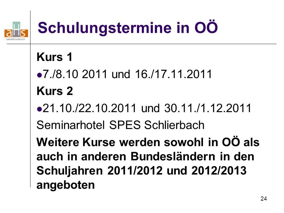 24 Schulungstermine in OÖ Kurs 1 7./8.10 2011 und 16./17.11.2011 Kurs 2 21.10./22.10.2011 und 30.11./1.12.2011 Seminarhotel SPES Schlierbach Weitere K