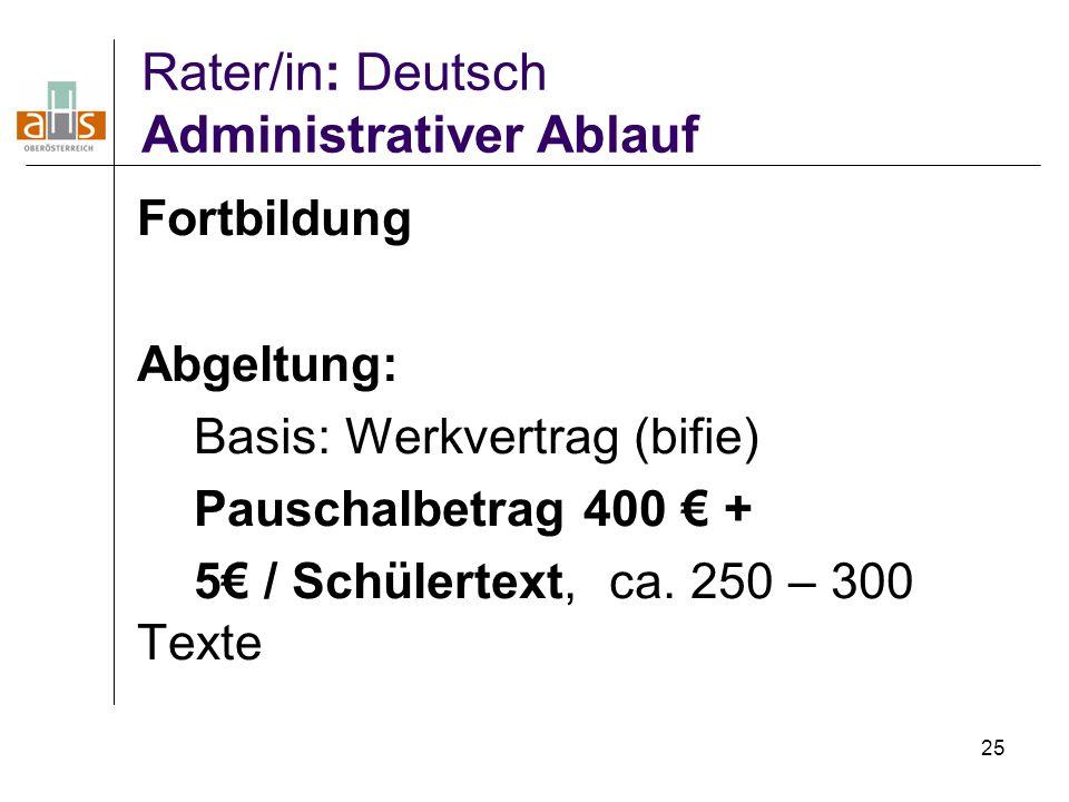 25 Rater/in: Deutsch Administrativer Ablauf Fortbildung Abgeltung: Basis: Werkvertrag (bifie) Pauschalbetrag 400 € + 5€ / Schülertext, ca. 250 – 300 T