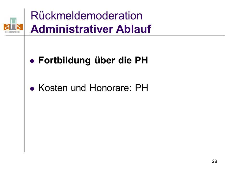 28 Rückmeldemoderation Administrativer Ablauf Fortbildung über die PH Kosten und Honorare: PH