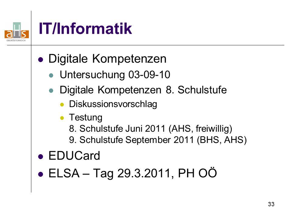 33 IT/Informatik Digitale Kompetenzen Untersuchung 03-09-10 Digitale Kompetenzen 8. Schulstufe Diskussionsvorschlag Testung 8. Schulstufe Juni 2011 (A