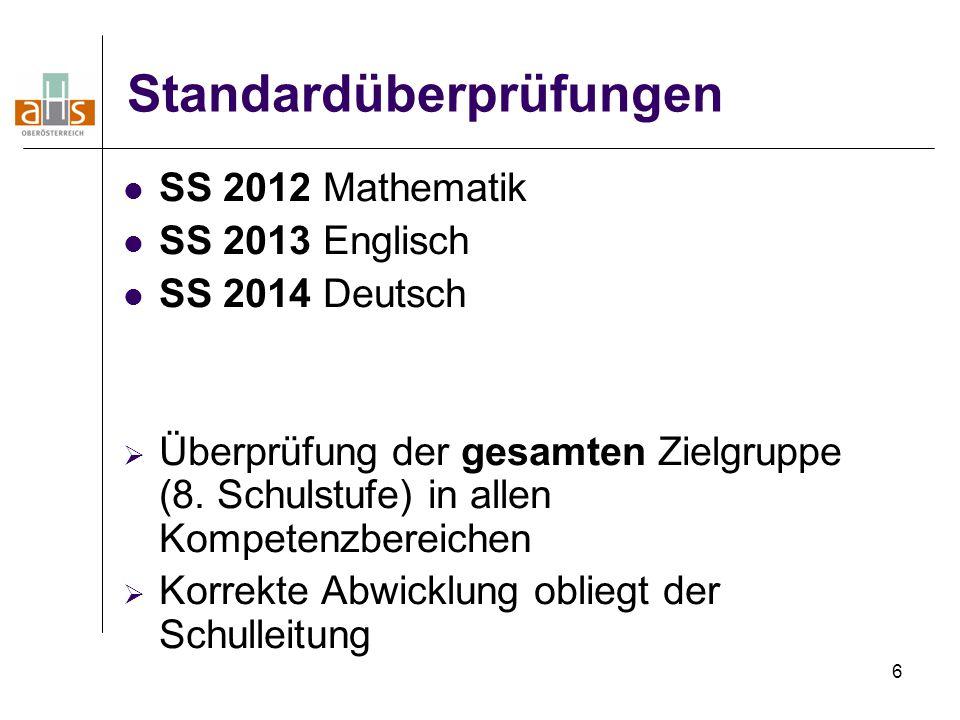 6 Standardüberprüfungen SS 2012 Mathematik SS 2013 Englisch SS 2014 Deutsch  Überprüfung der gesamten Zielgruppe (8. Schulstufe) in allen Kompetenzbe