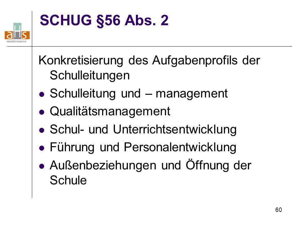 60 SCHUG §56 Abs. 2 Konkretisierung des Aufgabenprofils der Schulleitungen Schulleitung und – management Qualitätsmanagement Schul- und Unterrichtsent