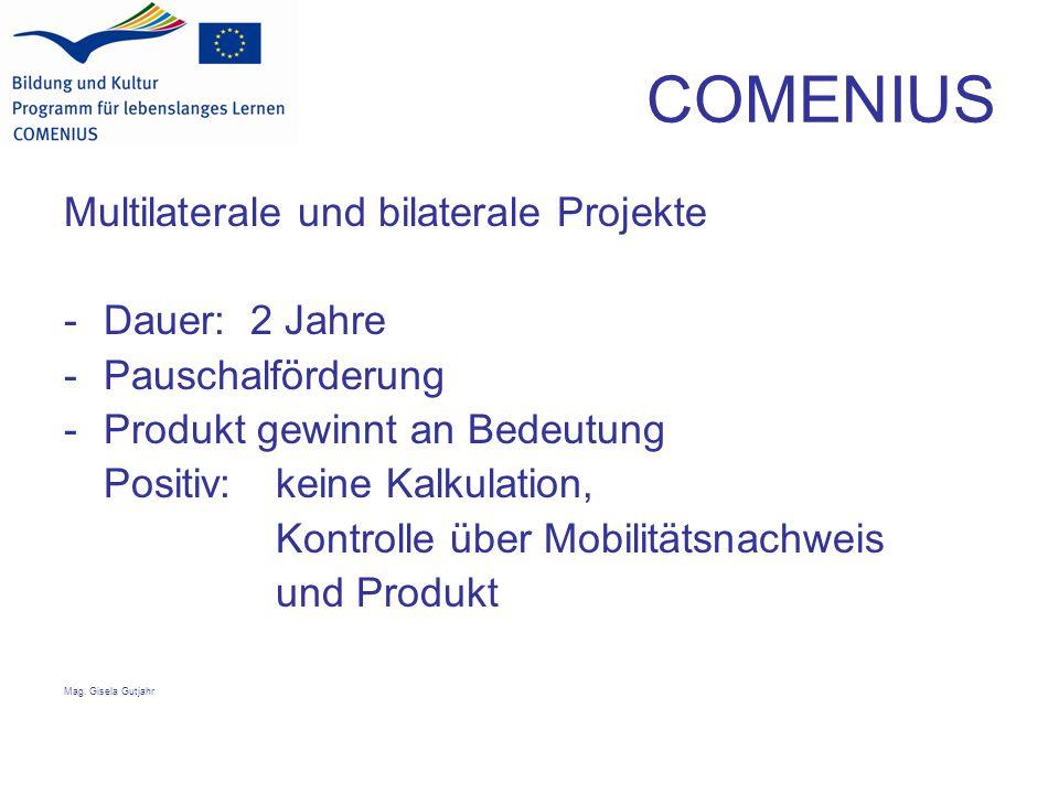 COMENIUS Multilaterale und bilaterale Projekte -Dauer: 2 Jahre -Pauschalförderung -Produkt gewinnt an Bedeutung Positiv: keine Kalkulation, Kontrolle über Mobilitätsnachweis und Produkt Mag.