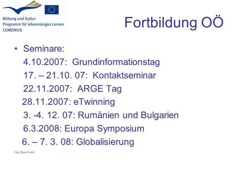 Fortbildung OÖ Seminare: 4.10.2007: Grundinformationstag 17.