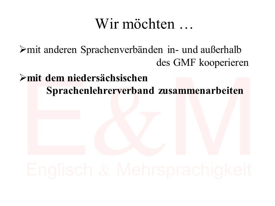 Wir möchten …  mit anderen Sprachenverbänden in- und außerhalb des GMF kooperieren  mit dem niedersächsischen Sprachenlehrerverband zusammenarbeiten