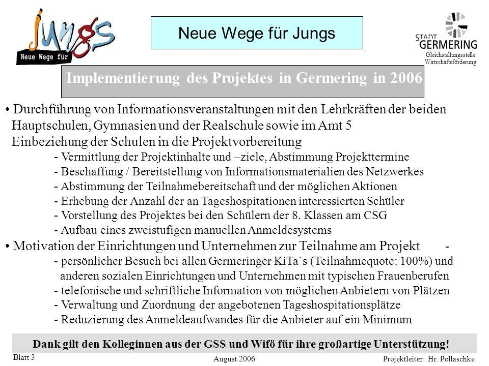 Neue Wege für Jungs Projektleiter: Hr. Pollaschke Blatt 3 Implementierung des Projektes in Germering in 2006 Durchführung von Informationsveranstaltun